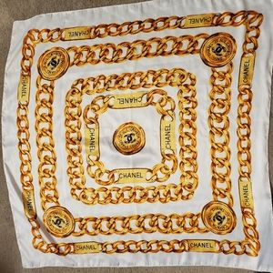 Vintage Chanel gold and beige silk scarf large